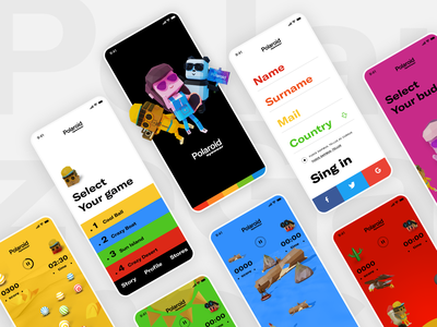 Polarized Games by Polaroid Eyewear branding interaction design made with adobe xd colorful gamedesign ui user interface ux
