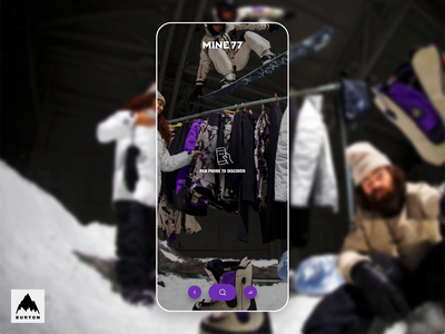 Burton Mine77 product scan shopping lens winter collection outherwear action sports burton snowboards shopping app branding interaction design made with adobe xd user interface ux