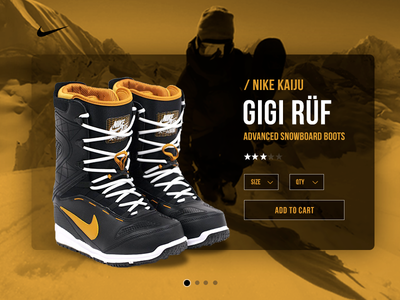 Nike Snowboard Boots interface experience user cards swipe sports snowboards shop