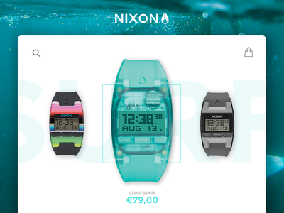 Nixon shop experience sport surf interface ux ui watches nixon