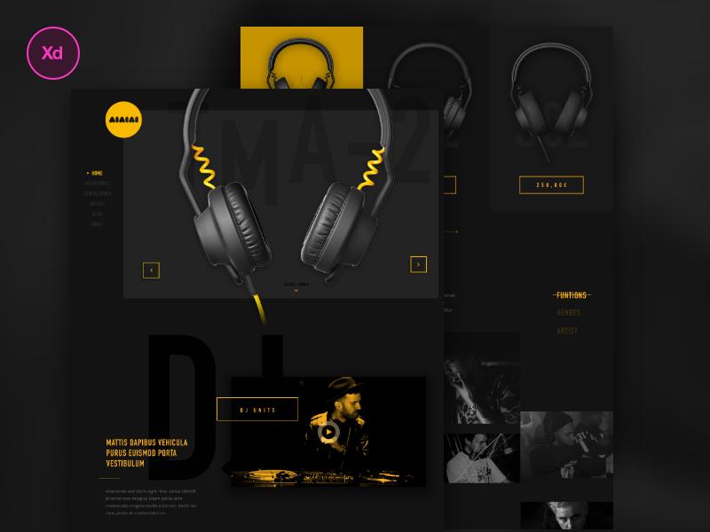 "Aiaiai music redesign ""xd tryout"" tryout dj ui ux webdesign aiaiai redesign freebie adobe xd music"