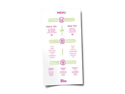 Bliss Menu Design layout typography branding extension brand identity graphic design branding
