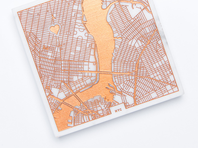 New Customizable Marble Coasters! product copper design personalize laser maps cartography nyc coaster marble