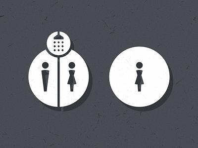 Bathroom Party signage design icon shower womens mens restroom bathroom