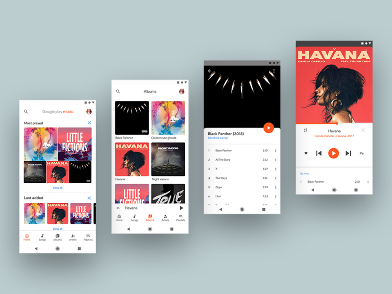 Google Play Music Redesign Concept By Surya Teja Dribbble Dribbble
