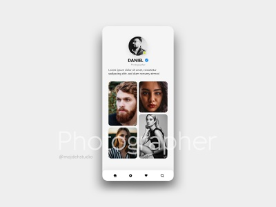 Photographer Application uiux animation web icon typography application ux ui