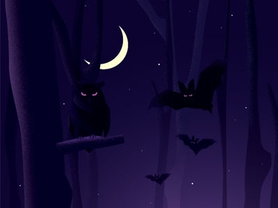 Darkness deamons black owl daemon conceptual concept illustration forest nightview darkness night bat owl