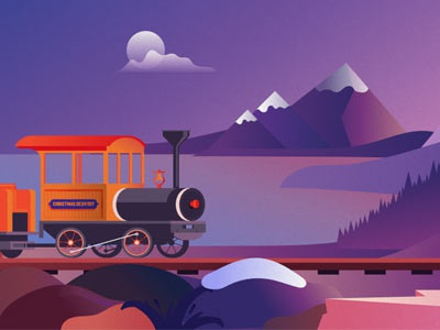 Christmas Train In Evening Colors illustration christmas train steam train mountains moon train evening evening colors christmas
