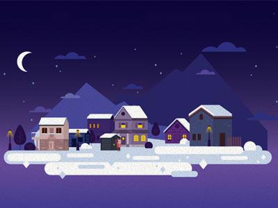 Christmas Town at night mountain santa claus night sky night celebrations greeting greetings snow houses night city christmas town town christmas