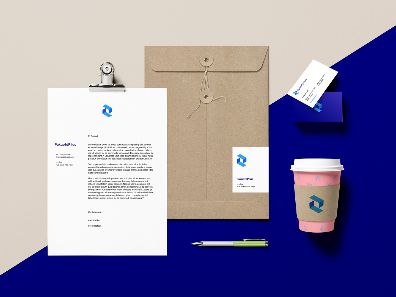 Package Plus - Pakuote plius branding design pp logo box logo package logo stationery brand design brand identity branding brand