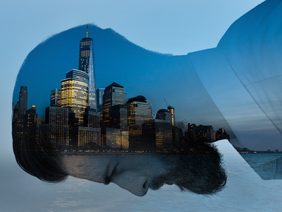 Double exposure, 2 ways (1/2) commercial real estate skyline nyc new york city cityscape real estate photoshop double exposure