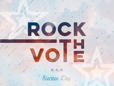 Rock The Vote red white and blue vote united states rock the vote election day america usa patriotic lettering typography