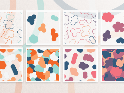 Abstract cloud patterns vibrant social media branding packaging minimal flat background bubbles clouds abstract seamless pattern