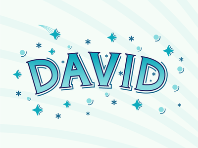 David illustrator names david blue stars space handlettering hand lettered vector design illustration lettering typography