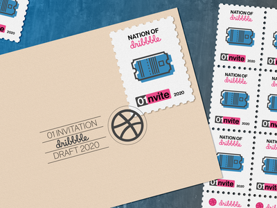 Dribble Invite new year happy new year typography postmark stamps stamp post mail ticket postage stamp dribbble draft dribbble invite