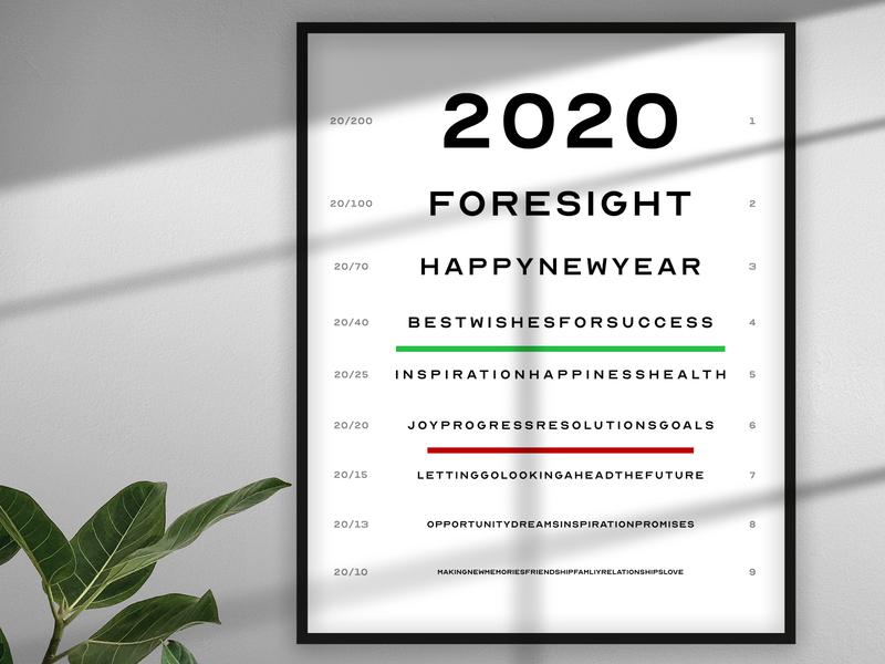Happy New Year 20/20 typography new year happy new year happy holidays eyesight design celebrate 2020