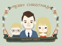 Custom Illustrated Family Portrait Christmas Card