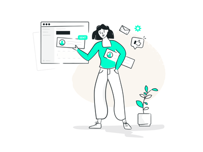 Automated tasks illustration illustration digital minima design clean design girl plant beige green lineart contact liked sent email marketing design marketing campaign marketing illustration design