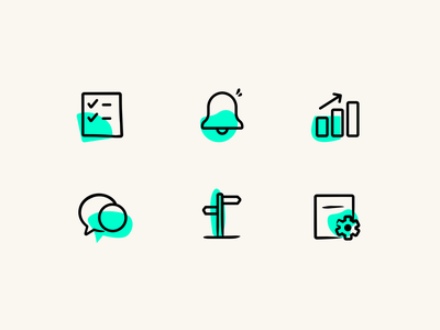 Icon set icon branding automation product stats marketing icons marketing product icons icon design black teal green beige icons
