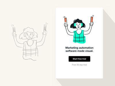 Empty State Illustration shopping ecommerce marketer worker girl marketing tools marketing app cta turquoise green product design visual design autopilot free trial illustration blank state empty state