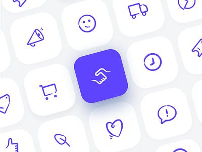 Icon Set campaign design branding product design vector uidesign marketing company marketing campaign marketing ecommerce blue purple icon design iconography icon icon set illustrative