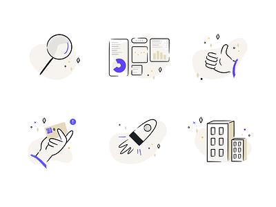 Empty states illustration set visual design analytics chart analytics company search payment launch success dashboard lineart pruple blue illustrator ui marketing vector branding illustration