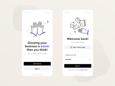 Sign in mobile screens ui black blue sign in form forms empty states marketing automation growth welcome page google signup sign in mobile ui webapps app marketing design branding ui design illustration