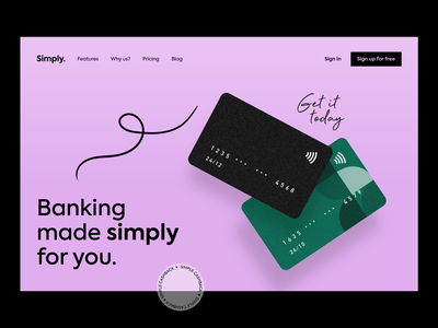 Landing page black purple pink simple features brand design branding design branding logo sign in sign up illustration banking website banking app banking cards landing page design homepage design homepage landingpage