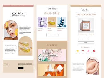 Email Templates- Ecommerce organic desktop clean minimal brand identity new product launch marketing campaign boost sales email template design email template email marketing illustration typography marketing shopping marketplace ui design branding ecommerce