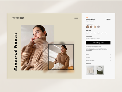 Ecommerce Website- Product page ecommerce business shop marketing online store commerce typography beige sizing add to bag shop page fashion ui design branding shopping product page ecommerce shop ecommerce app ecommerce