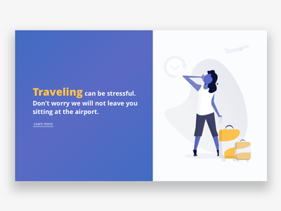 Traveling & missed your flight? yellow blue ui illustration insurance claim baggage airport flight travel