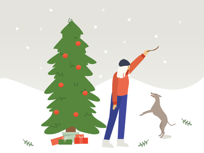Happy holidays holiday design christmas snow presents dog gifts holiday flat design whippet christmas tree character illustration