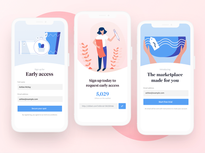 Early Access For Marketplace share buttons link login sign up early access shopping design ui ui design typography marketplace ecommerce sell online creative selller mobile design ios illustration
