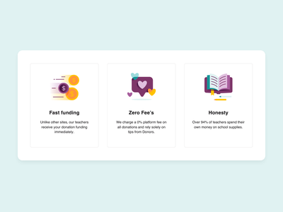 Icons for landing page charity ui pastels blue purple landing design landingpage landing webdesign funding branding product design design illustrations icons