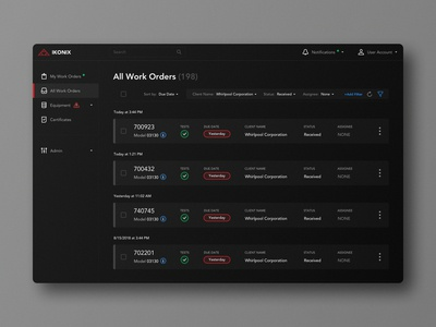 Work Orders Page in Dark Theme