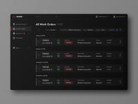 Work Orders Page in Dark Theme