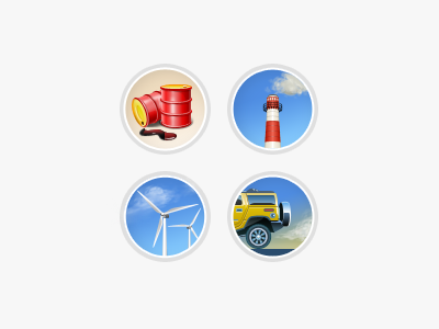 Eco Illustrations illustration icon barrel oil pollution vehicle carbon dioxide windmill smokestack smog eco green