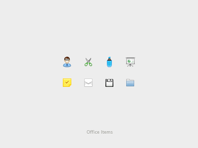 Office Items (psd) office icons small icons freebies author expert scissors marker presentation stickies email envelope folder psd