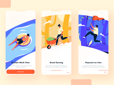 Flexible Working App Onboarding money mockup time great earning payment people noon night morning freelance working onboarding mobile ux ui design application app illustration