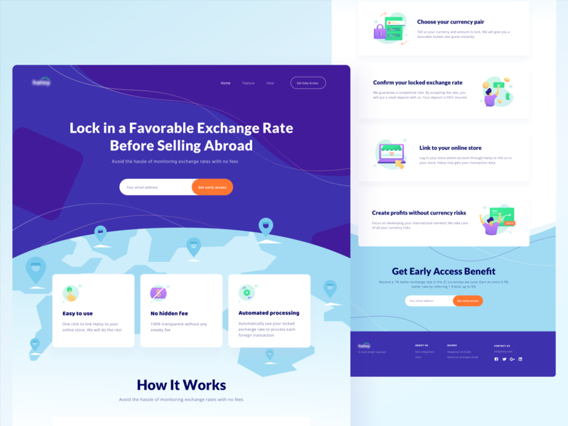 Lock in Exchange Rate Landing Page earth ux currency fee eccomerce online abroad sell store money rate exchange concept application design ui landing app website illustration