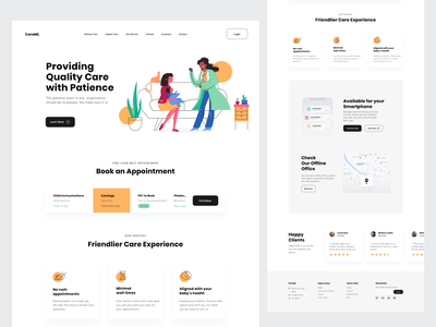 Baby Care Landing Page Website health booking appointment new mother mom care baby nurse doctor woman clean application page landing design ui website app illustration