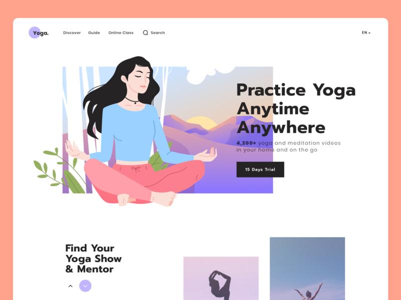 Yoga UI Website Illustration practice online clean simple mountain landscape sport woman girl meditation body mind healthy yoga page landing website ui app illustration