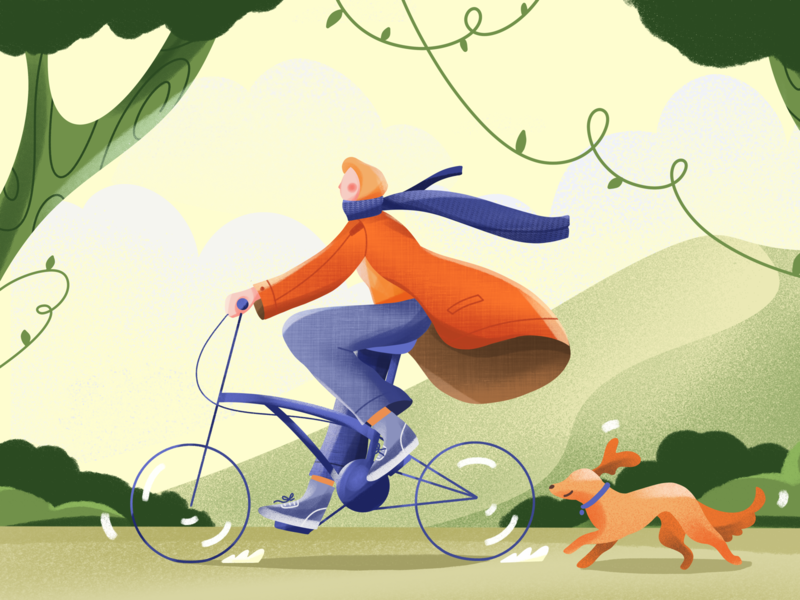 Bicycle Girl Illustration mountain dailyui soulmate travel run website art digital tree hijab dog girl landscape sport bicycle procreate drawing design ui illustration