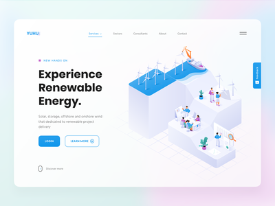 Renewable energy (Windmill) company app glassmorphic clean sea green energy renewable construction research steps field windmill page 3d isometric hero header website illustration