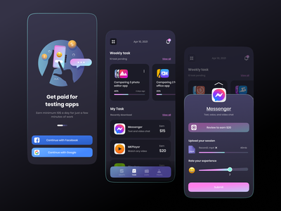 Dark Testing App review rating feedback colorful interface mobile done progress schedule task testing paid payment application black experience ux ui app illustration