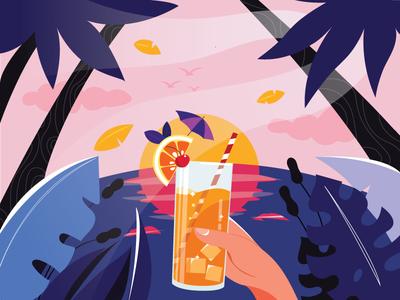 Fresh juice at the beach illustration page landing illustration night sunset orange tropical beach juice