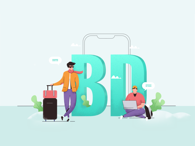 Travelling and working illustration application app agency illustration website working travel