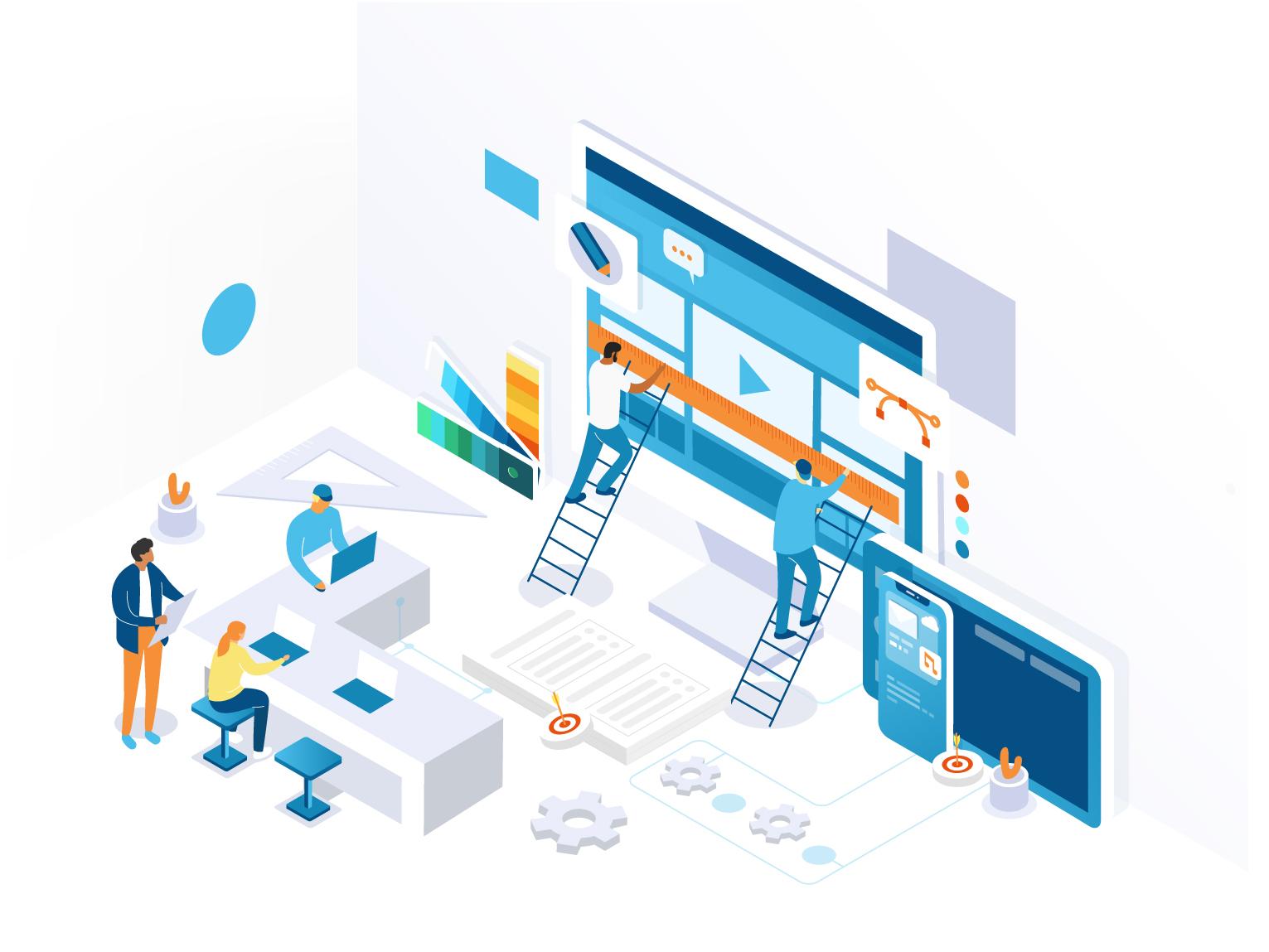 Designer Illustration interface app 3d ui development agency page landing website isometric illustration