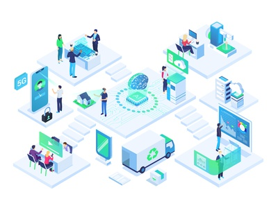 AI Chip Illustration Office illustration augmented reality phone computer laptop office recycle printer 3d tech moder isometric iot brain chip ai