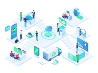 AI Chip Illustration Office
